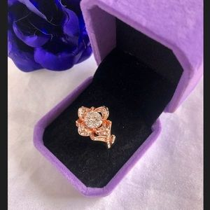 Rose gold filled ring white topaz crystal